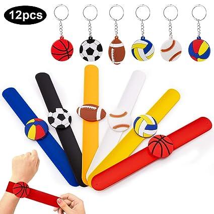 SPECOOL Silicona Pulsera Bofetada Pulseras de Juguete Football Slap Pulsera, Slap Bracelets, Banda de Pulsera, Llaveros para Sport Fútbol Themed Party
