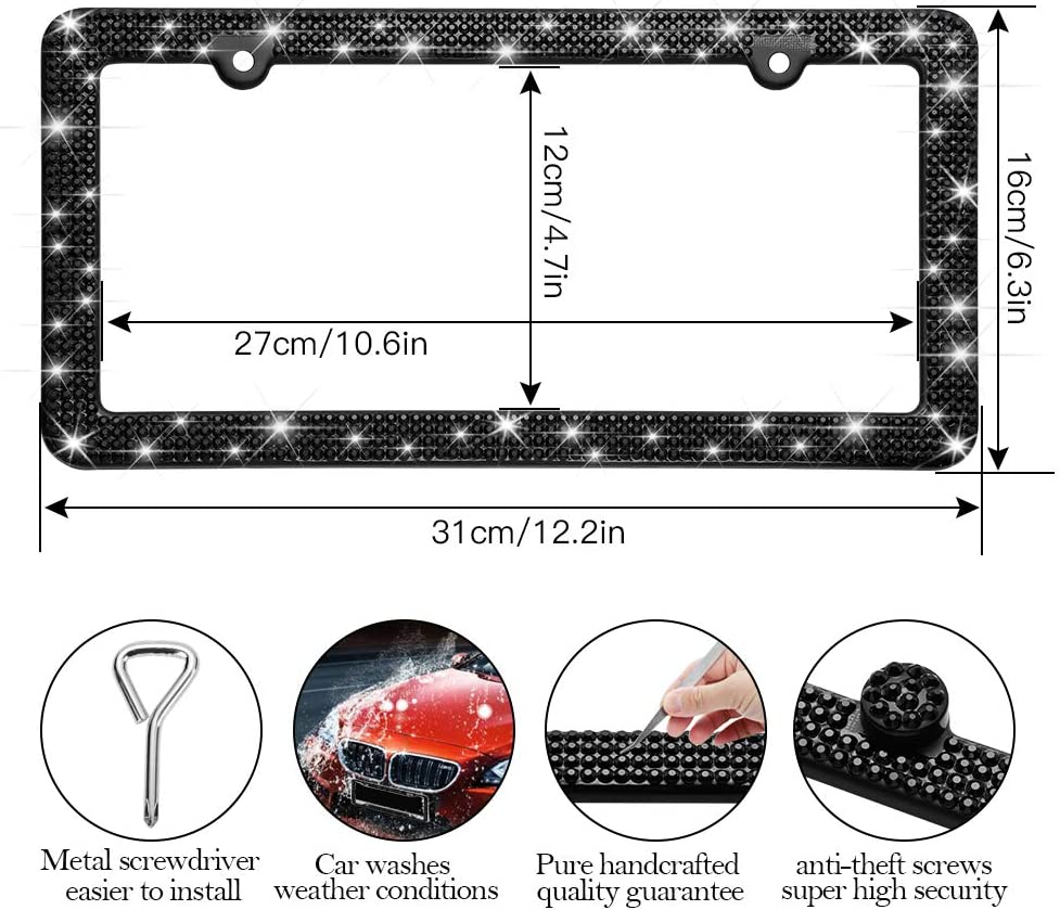 Anti-Theft Screws Caps Set Handcrafted 4 Rows Shiny Rhinestones Stainless Steel 2 Holes License Plate Frame with Gift Box Black Otostar Bling License Plate Frame