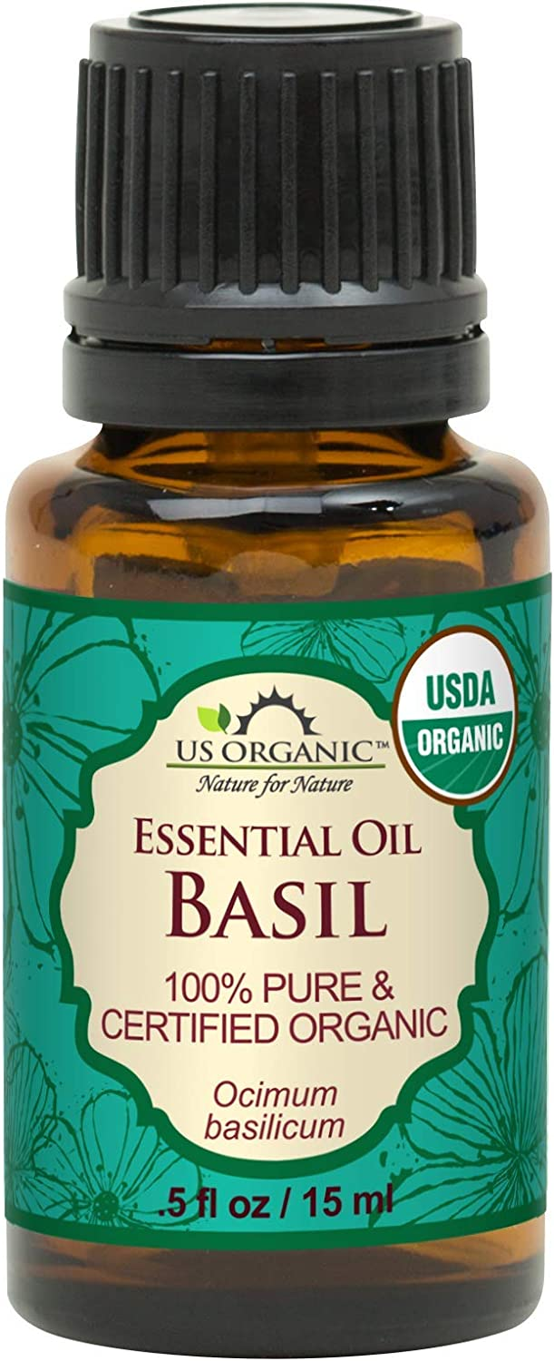 US Organic 100% Pure Basil Essential Oil - USDA Certified Organic, Steam Distilled W/Euro droppers (More Size Variations Available) (15 ml / .5 fl oz)