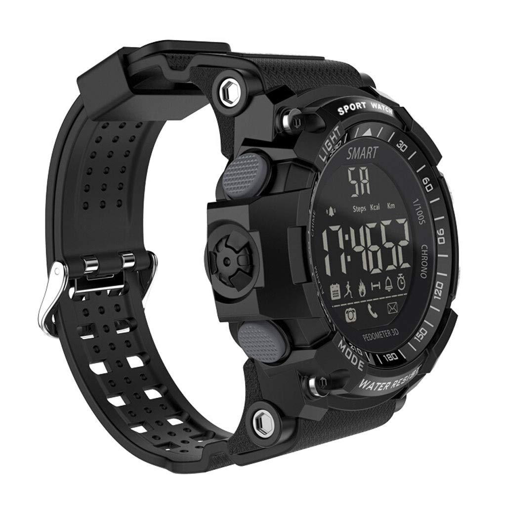 YangMi Sports Bracelet- Men's Smart Bluetooth Sports Bracelet Multi-Function Step Stopwatch Photo Waterproof Sports Bracelet (Color : Black)