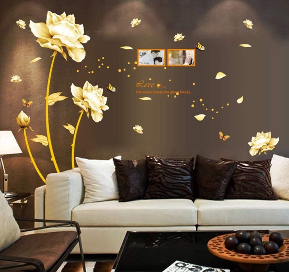 ufengke® Bella Peonia Fiori Farfalle Photo Frame Adesivi Murali, Camera da Letto Soggiorno Adesivi da Parete Removibili/Stickers Murali/Decorazione Murale Ufingo UF-WL0737