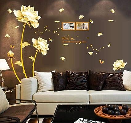 ufengke® Bella Peonia Fiori Farfalle Photo Frame Adesivi Murali ...