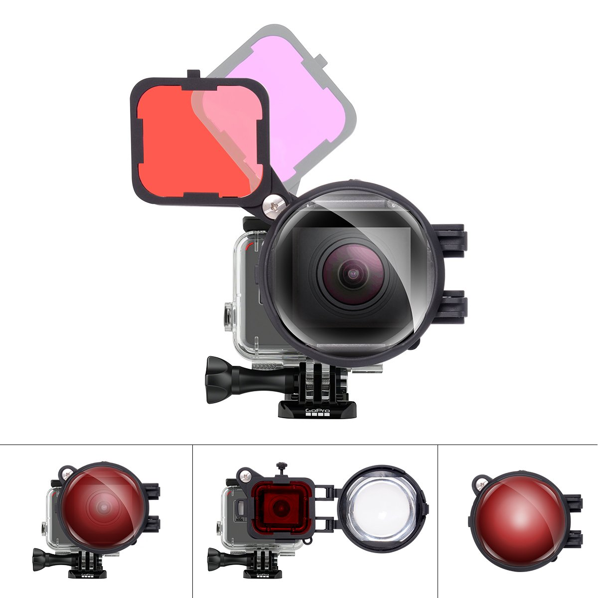 3in1 Dive Lens Combo 16X Macro Lens + Red + Magenta Color Correction Filter Set Compatible with GoPro Hero 7 6 5 Black for Tropical Blue/River Lake Green Water Diving Underwater Scuba Photography by fantaseal