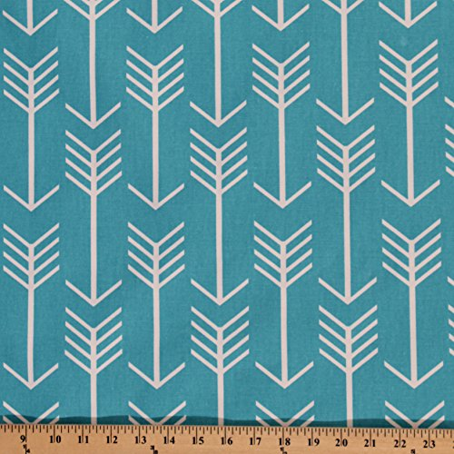 White Arrows on Teal Turquoise Blue Home Decorator Weight Fabric Print by The Yard