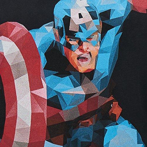 GOZOO Avengers T-Shirt Damen Captain America - Polygon Edition 100% Baumwolle Schwarz