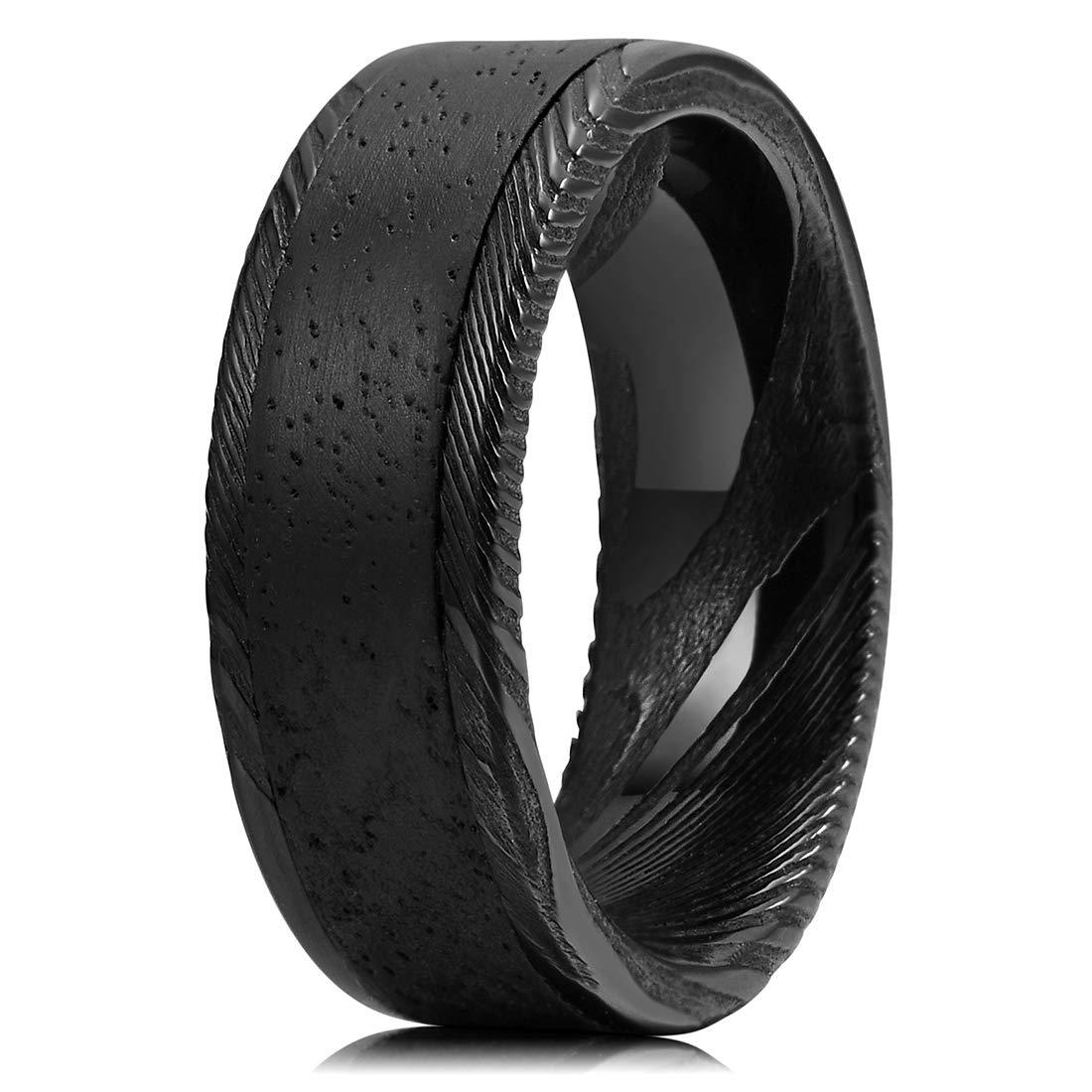 Three Keys Jewelry 8mm Damascus Steel Mens Wedding Ring Wood Grain Ebony Wood Inlay Black Wedding Band Engagement Ring Size 12.5