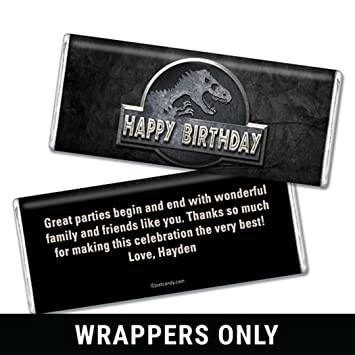 personalized hersheys chocolate bar wrappers birthday favors dinosaur park 25 wrappers