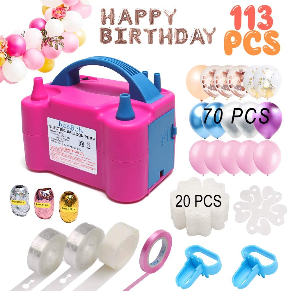 Balloon Pump, Electric Balloon Blower 110V 600W Portable Dual Nozzles Electric Balloon Air Pump Electric Balloon Inflator with 70 PCS Balloons, Tying Tools, 20 Flower Clips, Tape Strip, Colored Ribbon and Dot Glues for Party Decoration