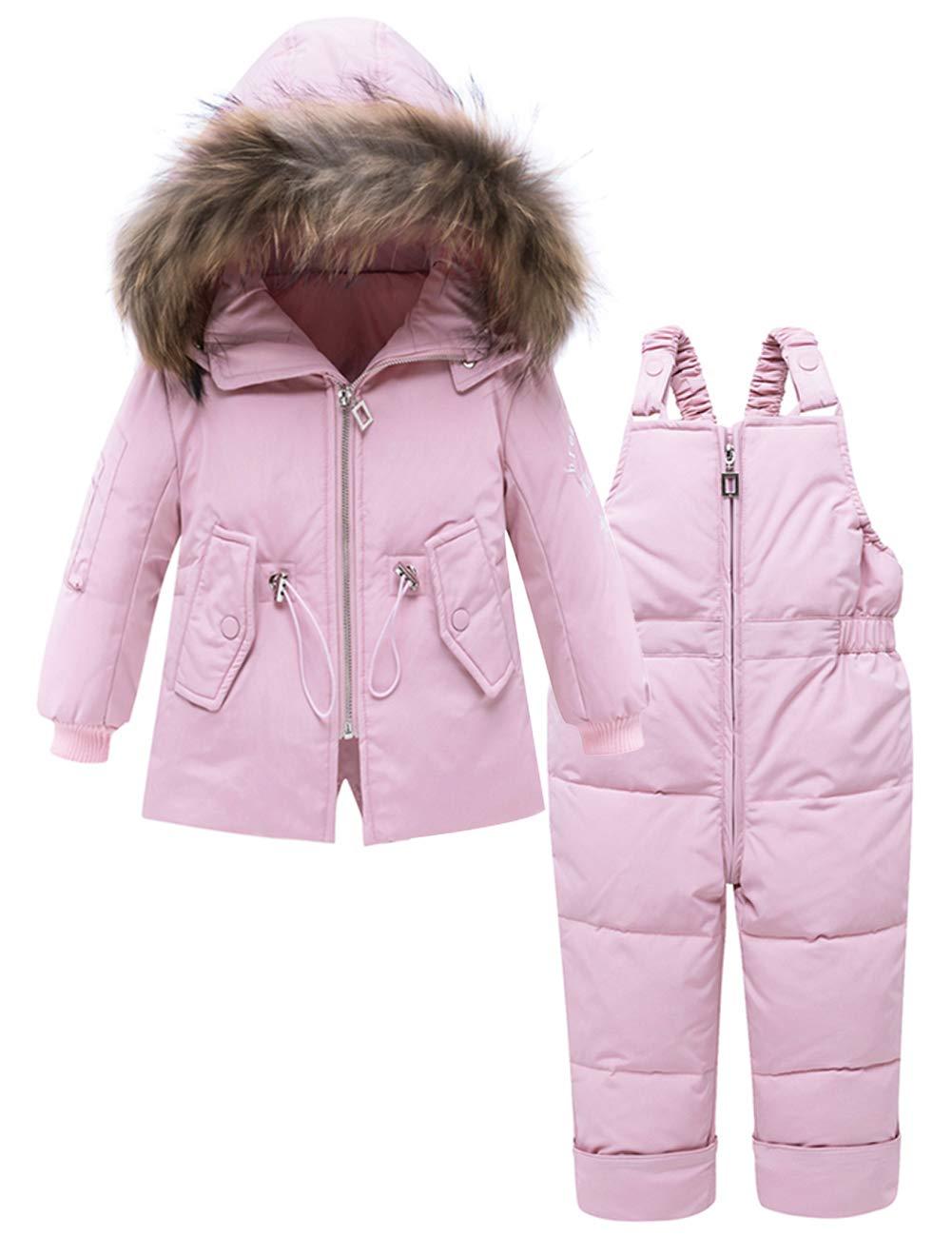 Zoerea Kinder Mädchen Süß Daunenanzug mit Kaputze Schneeanzug + Schneehose 2tlg Verdickte Winterjacke Skianzug