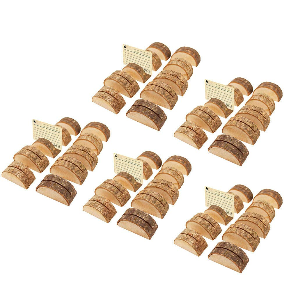 50pcs Rustic Wood Base Holder Table Name Card Holder Note Photo Message Clip by Brosco