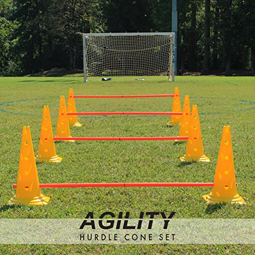 OTTO Adjustable Hurdle Cone Set - Sports Cones for Agility Training - 8 Heavy Duty Cones and 4 Extra Long Poles - Hurdles for Track, Soccer, and Football (16 Cones)