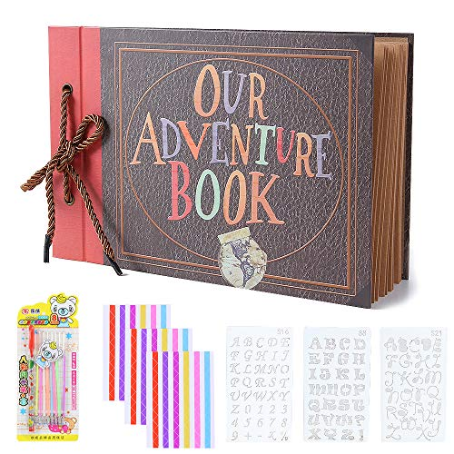 (Our Adventure Book Pixar Up Handmade DIY Scrapbook Photo Album 80 Pages with DIY Accessories Kit, Retro Album, Anniversary and Wedding Memory Book, Suitable for Lover, Friends and Kids(40)