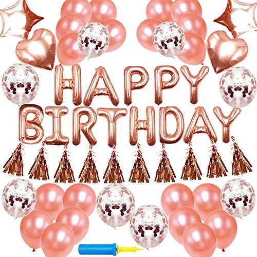 NIUBER Birthday Decorations - Birthday Party Supplies Party Decorations Balloons Rose Gold Happy Birthday Banner Confetti Balloons