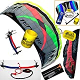 Prism Tensor 4.2 Power Foil Kite CX Bundle: (5 Items) Includes 2ND Control Bar Kite : CX 1.5M Foil Control Bar Trainer Kite + WindBone Kiteboarding Lifestyle Decals + WindBone Kitesurfing Key Chain + WB Kiteboarding Koozy Cooler : Land Snow Traction Trainer Foil Quad Handle Bar Power Kite