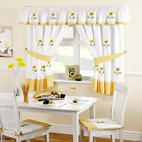 SUNFLOWER YELLOW EMBROIDERED GINGHAM KITCHEN CURTAINS DRAPES 46u0026quot; ...