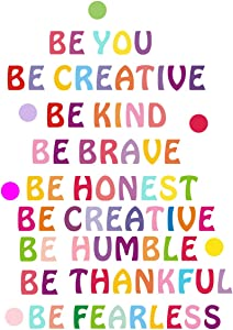 Inspirational Wall Decal Be Kind Wall Decal Be You Quotes Rainbow Motivational Lettering Quote Be Thankful, Be Brave,Be Creative Classroom Wall Decor Kids Decoration