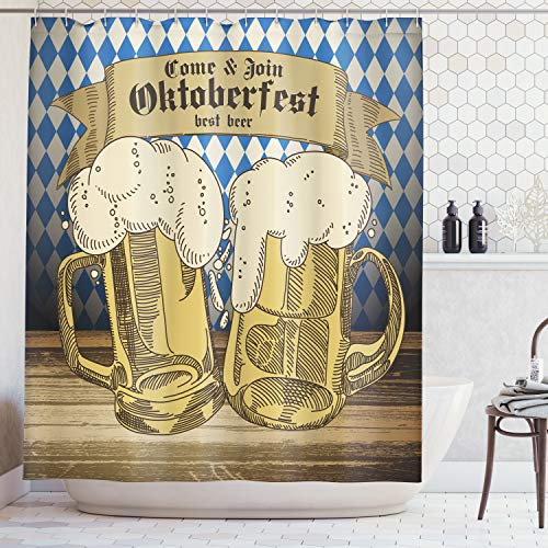Ambesonne Festival Decorations Collection, Oktoberfest Design Famous Costume Tourist Attraction Travel Destination, Polyester Fabric Bathroom Shower Curtain Set with Hooks, Blue Beige