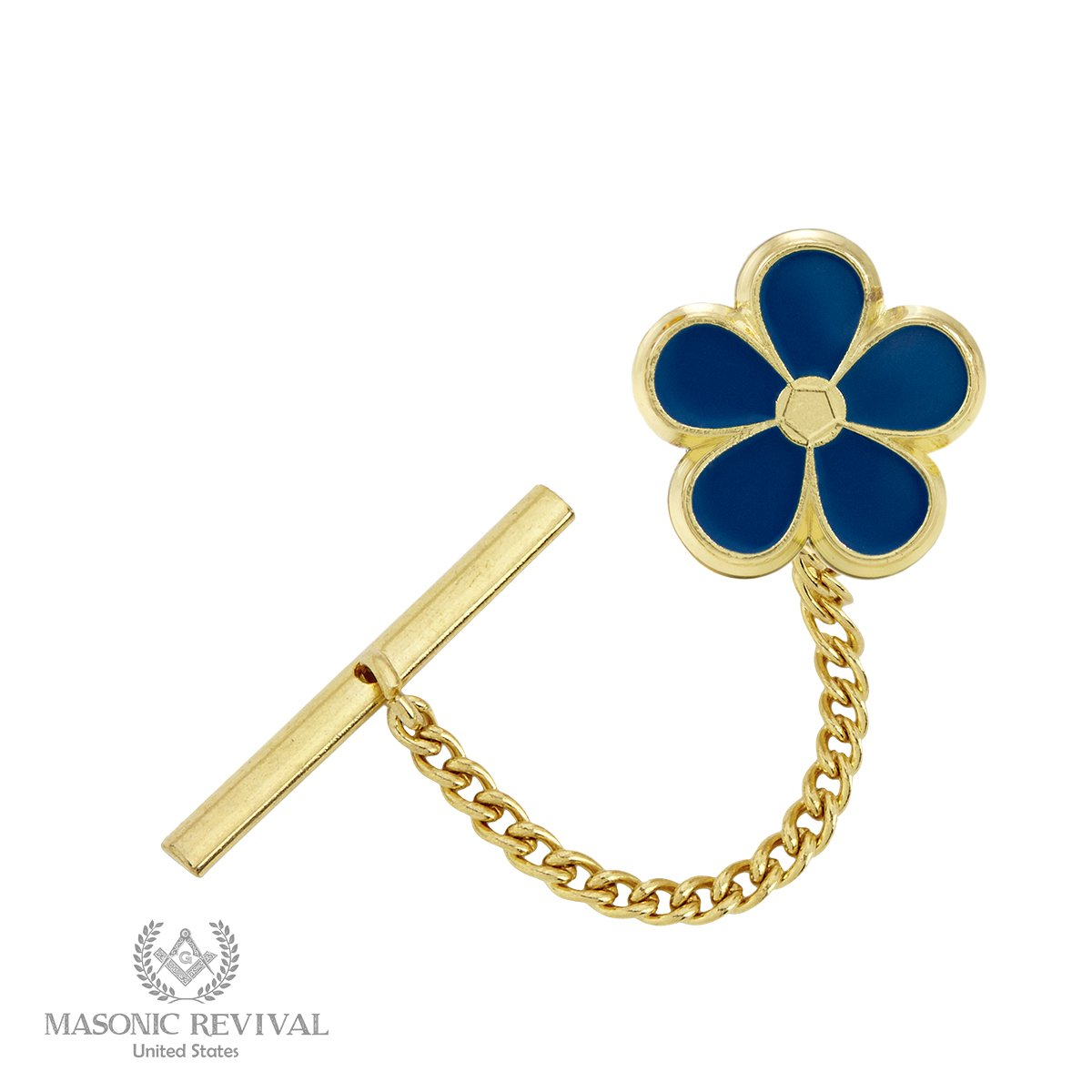 Forget Met Not Tie Pin Tack by Masonic Revival (Golden)