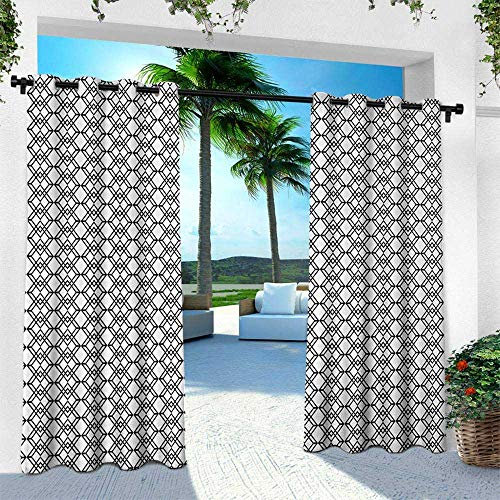 Hengshu Black and White, Indoor/Outdoor Single Panel Print Window Curtain,Grid Style Lines Monochrome Interlace Squares Modern Digital Art Pattern, W96 x L84 Inch, Black White ()