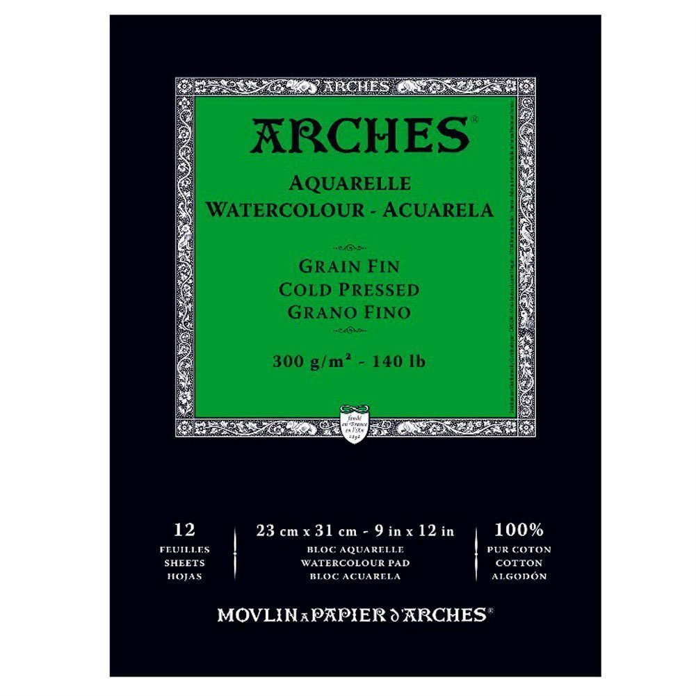 Arches Cold Press Watercolor Pad, 9''X12'' 3-Pack