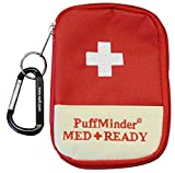 ASTHMA ATTACK KIT -PuffMinder MEDREADY Inhaler Carrying Case with Keyring and Carabiner. Puffer tote for Adults and Children. Easy to find in a busy purse or backpack. Keep your inhaler close to you when you need it most.
