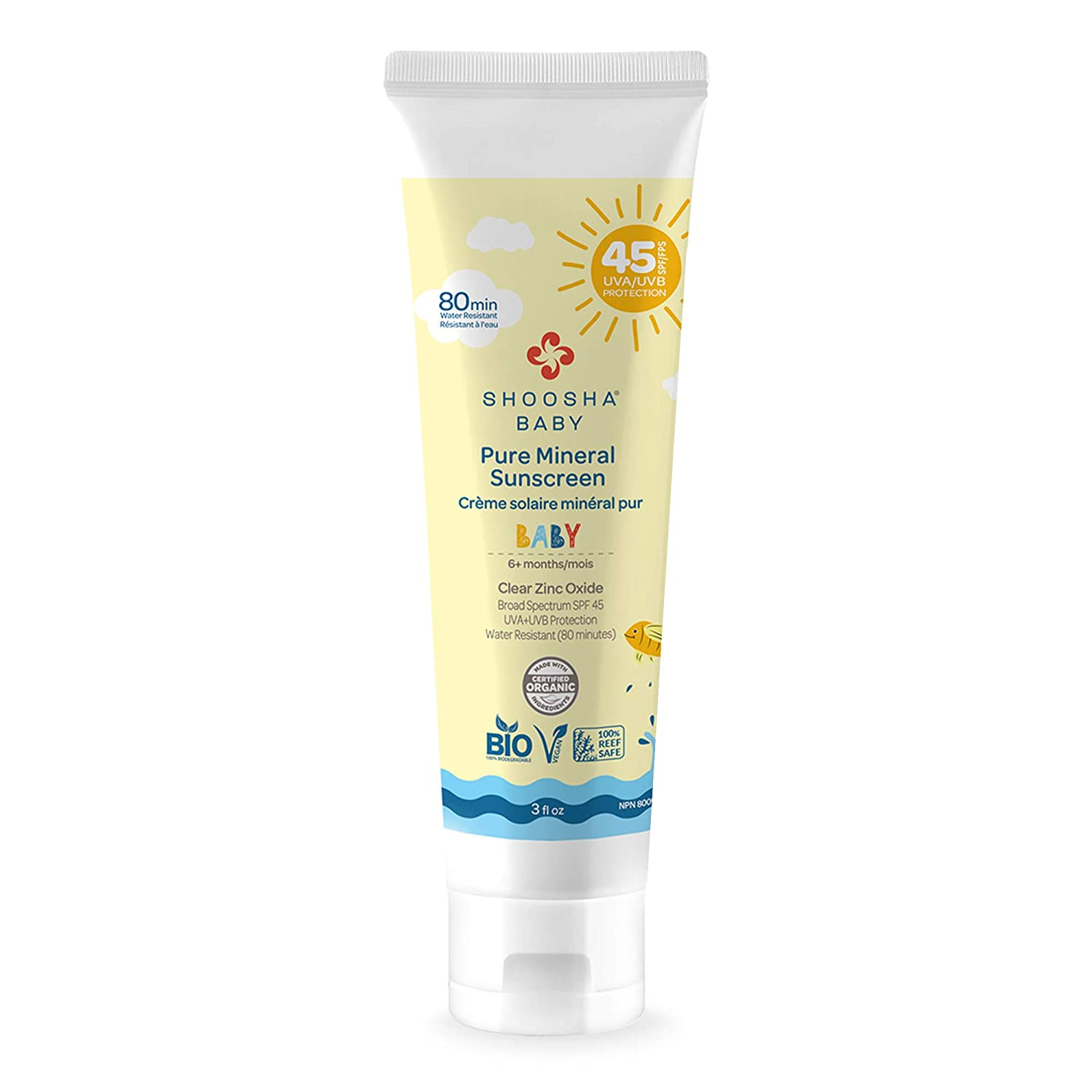 Organic Sunscreen for Kids and Babies, Sunscreen Lotion for Kids, Pure Mineral Sunscreen, Gluten-Free, Fragrance-Free, Hypoallergenic, 100% Biodegradable - Shoosha (BABY)