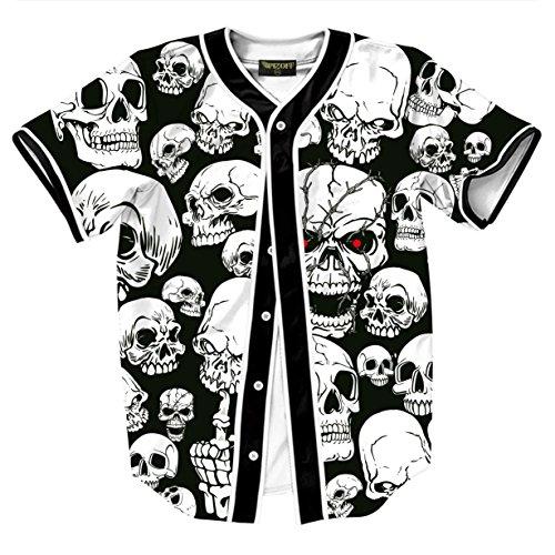 Pizoff Short Sleeve Arc Bottom 3D Skull Man Print Baseball Jersey Shirt (Baseball Jersey Dresses)