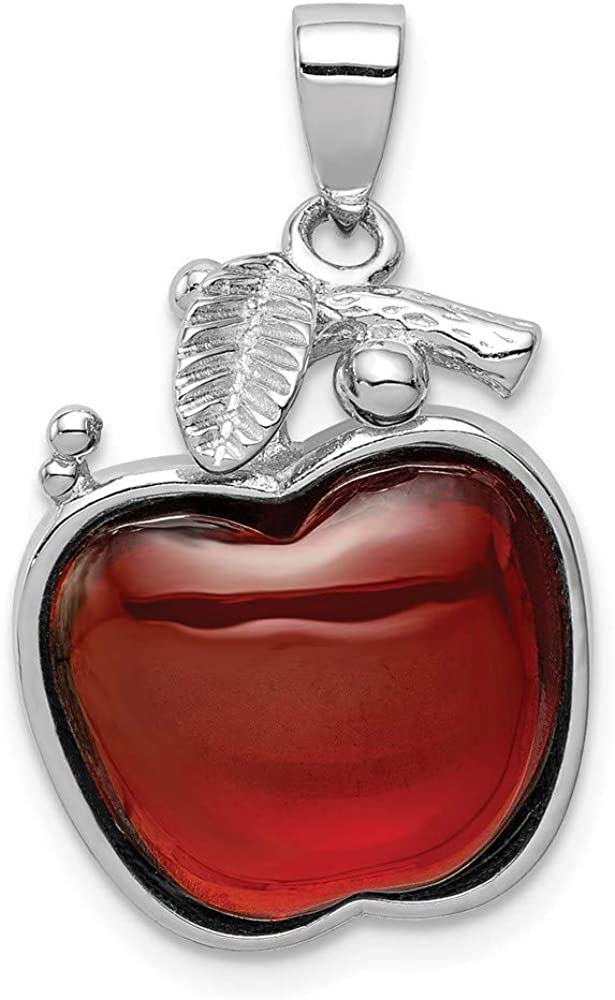 Solid 925 Sterling Silver Red CZ Cubic Zirconia Cabochon Apple Pendant Charm - 26mm x 16mm