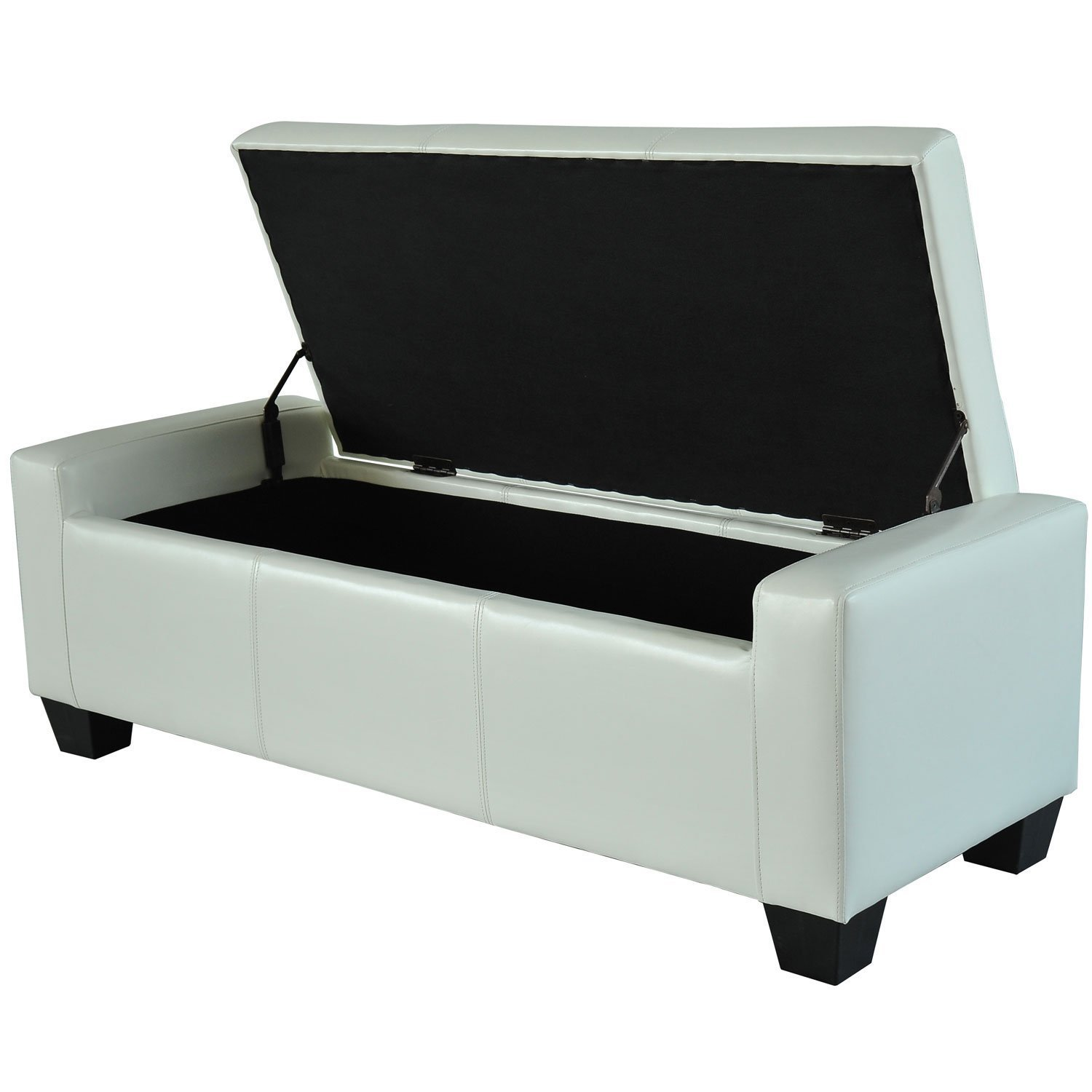 Amazon.com: Homcom Faux Leather Storage Ottoman / Shoe Bench   White:  Kitchen U0026 Dining