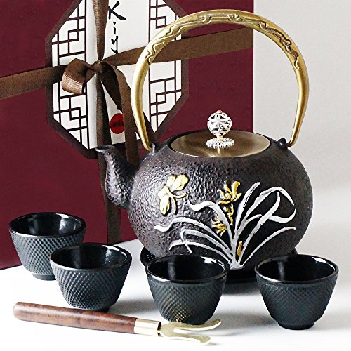 Japanese Iron Tea Set 8 Pieces - Teapot (1,2L - 40,57Oz) + Lid + 4 Iron Cups + Trivet + Wood Lid Holder - Premium Quality - 100% Hand Made - American FDA Approved (Butterfly)