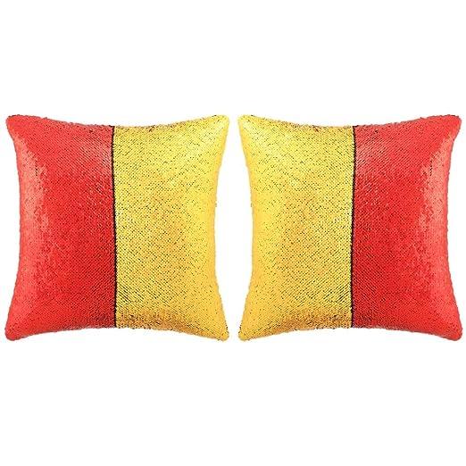 vidaXL 2X Cojines con Lentejuelas 60x60cm Rojo/Dorado ...