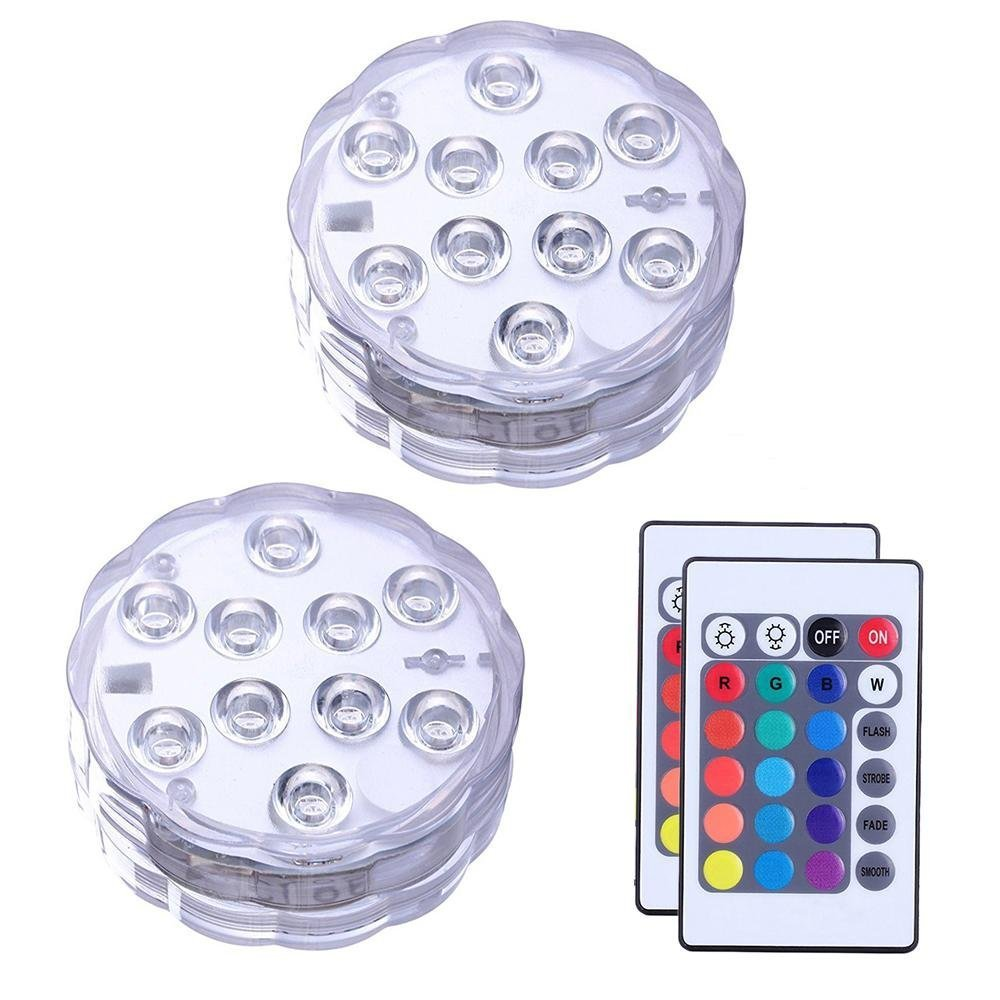 Sorobright Underwater Submersible LED Lights, Waterproof RGB Multi Color Changing Battery Powered with Remote Control for Aquarium Swimming Pool Pond Party Bar Shower Bath Vase Blue Purple Set of 2