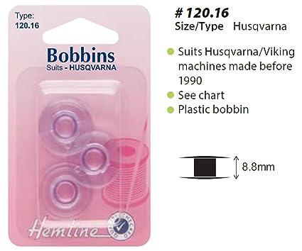 Hemline Máquina De Coser Canillas H120.16 Husqvarna / Viking Plástico Canilla Paquete Con 2