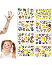 GUBOOM Tattoo Kids, 8 Vellen Pokemon Kids Tattoos Set, Waterproof Kids Tattoos Pokemon, Huidvriendelijke Kids Tattoos, Waterproof Tattoo voor Jongens, Meisjes, Feest en Festival