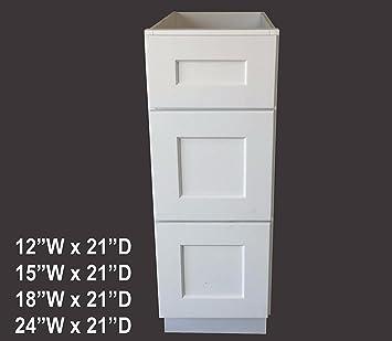 18 W X 21 D 3 Drawers White Shaker Bathroom Vanity Base