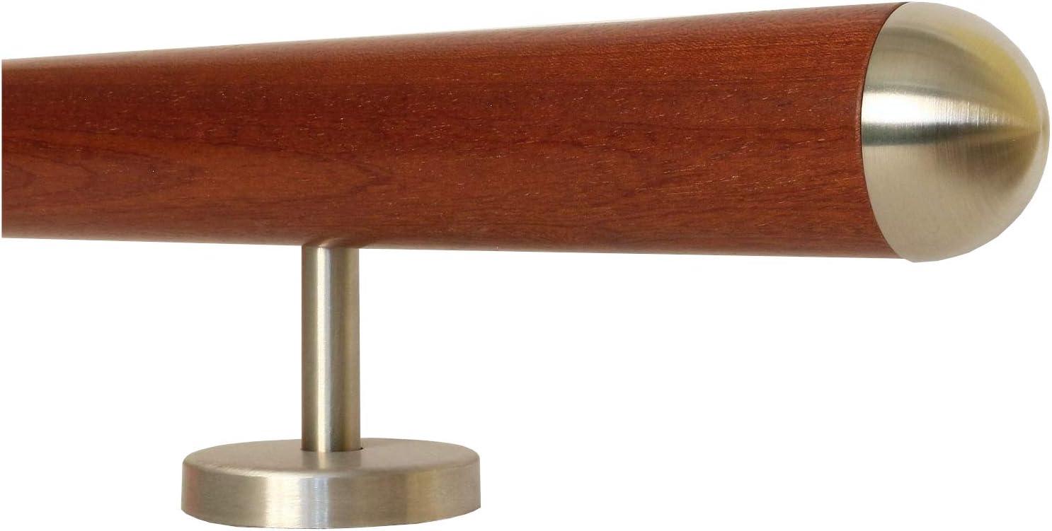 Mahagoni Gel/änder Handlauf Treppe Holz Griff gerade Edelstahlhalter L/änge 30-500 cm aus einem St/ück//zum Beispiel L/änge 120 cm mit 2 gerade Halter Enden = gefast