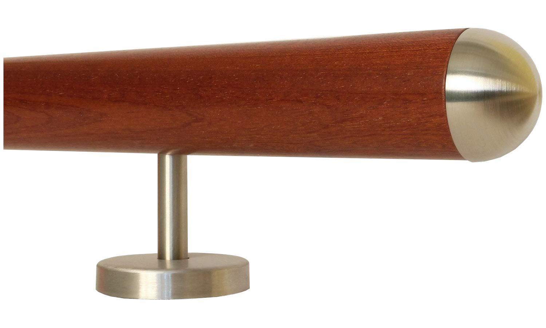 Mahagoni Gel/änder Handlauf Treppe Holz Griff gerade Edelstahlhalter L/änge 30-500 cm aus einem St/ück//zum Beispiel L/änge 240 cm mit 4 gerade Halter Enden =Halbkugel gefr/äst