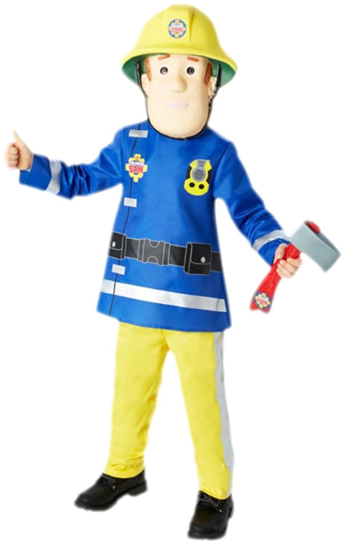 Karnevalsbud - Jungen Kostüm Fireman Sam mit Top, Hose, Maske und Axt, 104, Gelb