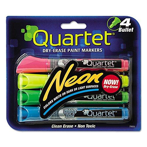 Quartet 79551 Neon Dry Erase Marker Set, Assorted, 4/Set - Paint Marker Bullet