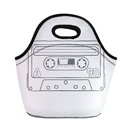 Semtomn Lunch Tote Bag Black and White Compact Tape Cassettes Graphics Advertisements Labels Reusable Neoprene Insulated