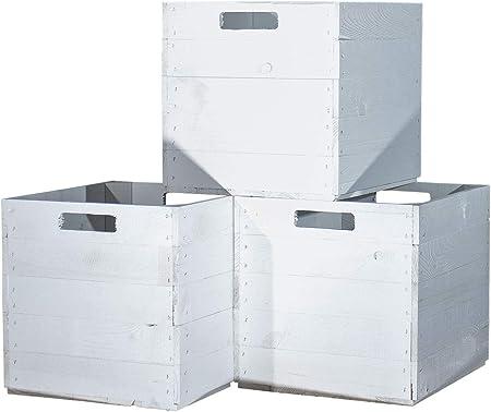 Vinterior 4 Unidades Madera Cajas Color Blanco para estanterías de ...