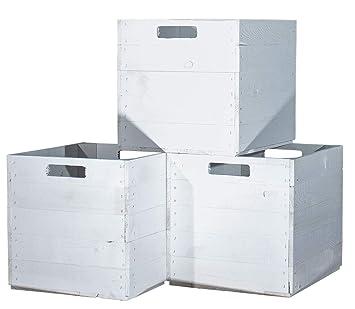 Vinterior 4 Stück Holzkisten Weiß Für Kallax Regale 33x38x33cm Ikea