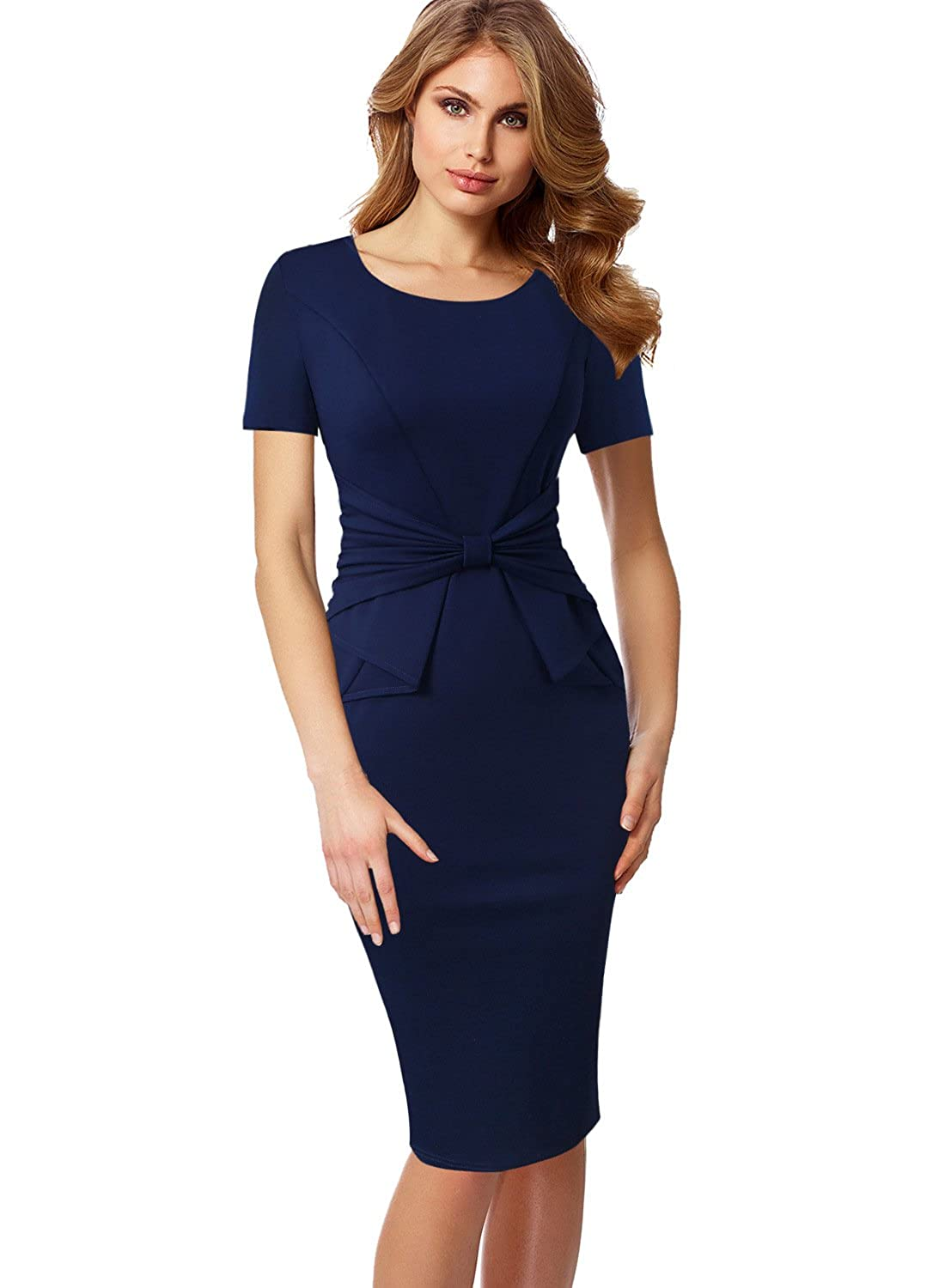 bluee Short Sleeve VFSHOW Womens Pleated Bow Wear to Work Business Office Church Sheath Dress