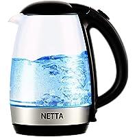 NETTA 1.7L Fast Boil Electric Glass Kettle 2200W Blue Illuminated LED Jug with Swivel Base Flip Top