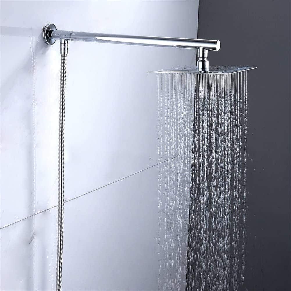 SCD 8 Soporte de pared cuadrado de lluvia cabeza de acero inoxidable Ba/ño Cabeza de Chrome hacienda terminada y la extensi/ón del brazo y de la manguera alcachofa de la ducha