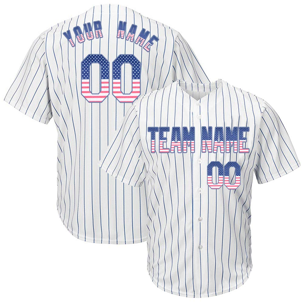Custom Men's White Pinstriped Baseball Jersey with Sewn Team Name Player Name and Numbers,United States Flag Size L by DEHUI