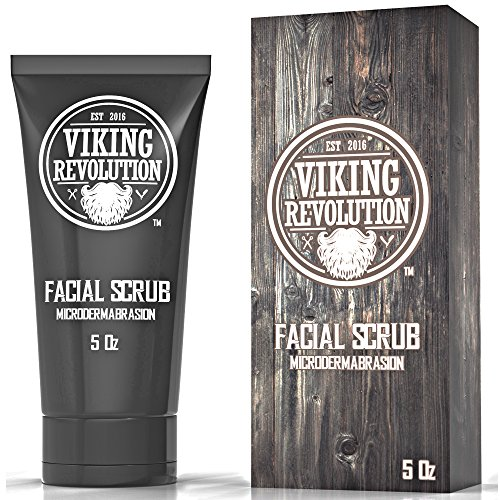 VIKING REVOLUTION Microdermabrasion Face Scrub for Men - Facial Cleanser to Exfoliate Skin, Deep Cleansing Facewash Removes Blackheads, Spots, Ingrown Hairs - Men's Daily Pre-Shave Face ()