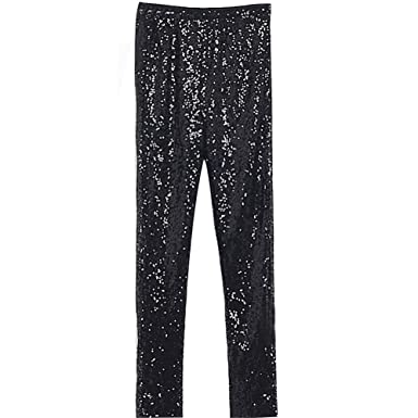 7ec337b9 Women Sequin Leggings Skinny Silver Gold Sequin Tights Party Club Wear:  Amazon.co.uk: Clothing