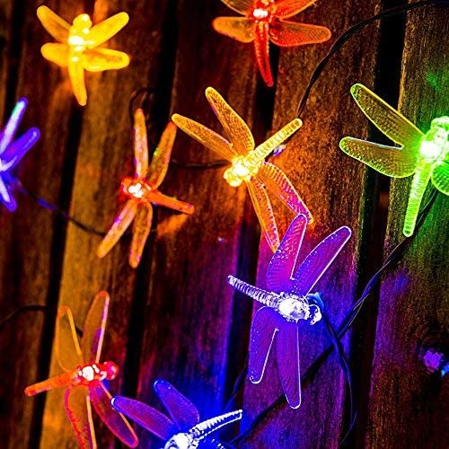 Solar String Lights LED Dragonfly, Outdoor Waterproof Lights 20 LED Fairy Lighting 2 Modes Steady, Flash Garden Lamp Decorations for Party, Fence, Christmas Tree, Wedding, Holiday – Multi Color