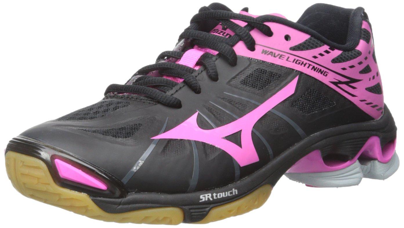 Mizuno Women's Wave Lightning Z WOMS BK-PK Volleyball Shoe, Black/Pink, 7.5 B(M) US